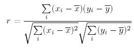 Pearson Correlation Coefficient equation