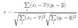 Pearson Correlation Coefficient equation